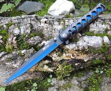 MTech Ballistic TIPS Stiletto Messer einseitig geschliffen AQUABLUE MTA317BL