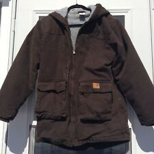 Carhartt Hooded Brown Sherpa Coat Boys XL or Womens Small