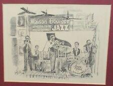 "BRENT MCCARTHY BOURBON JAZZ"" NEW ORLEANS DIXIELAND VINTAGE LITHOGRAPH 1982"