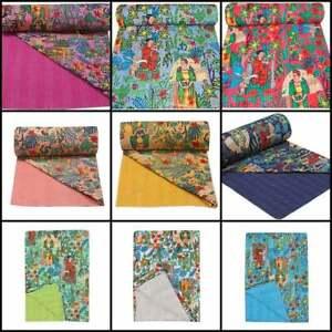 """""""Frida Kahlo"""" Printed Cotton Quilted Blanket Indian Handmade Bedspread Kantha UK"""