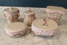Lot of 5 Longaberger Horizon of Hope whitewashed baskets