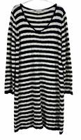 Autograph Womens Black/Cream Striped Long Sleeve Knit Dress Size L
