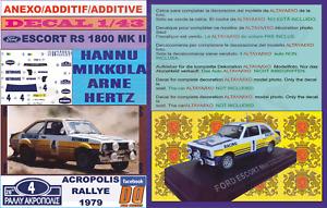 ANEXO DECAL 1/43 FORD ESCORT RS 1800 ROTHMANS H.MIKKOLA ACROPOLIS 1979 DnF (06)