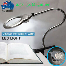 Large 2 LED Lens Lighted Lamp Top Desk Magnifier Magnifying Glass +Clamp Battery
