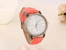 Reloj de cuarzo hombre Casual resistente al agua, resistente a los golpes Imitación Cuero Rosa