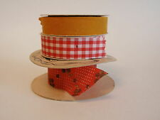 Vintage Wrights Holiday Ribbon Red White Gingham Check Yellow Felt Lion Calico 3