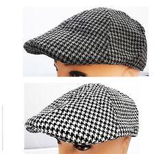 Houndstooth Newsboy Ivy  Golf Cabbie Player Black&gray beige&white hat