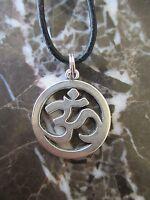 Uni-Sex Yoga Ohm Sign Medallion Charm Pendant Black Leather Necklace