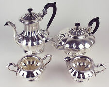 Tea Set Birks Regency Silverplate Teapot Coffee Pot Cream Sugar ep copper Melon