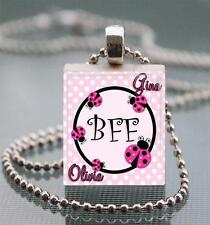 Custom Names Ladybug BFF Scrabble Tile Pendant Jewelry Best Friends Personalized