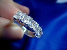 jem: 5-Stone 2.5mm PRINCESS CUT DIAMOND WEDDING RING in FINE SILVER