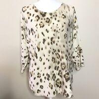 Chico's Women's Sweater Sz 2 Animal Print Tan Brown Tunic Shirt Cotton Rayon