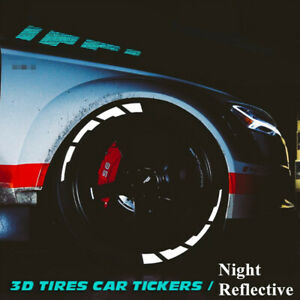 Tire Lettering Car Night Reflective Sticker Fit For 15 to22 Tyre Permanent 8 Set