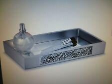 Dwellza Silver Mosaic Vanity Mirror Tray Dresser Bath Perfume Jewelry Makeup