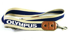 OLYMPUS Branded Canvas Strap. Cream with Blue Trim. Dog Collar Type Clips.