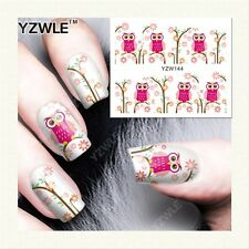 Nail Art Water Decals Stickers Transfers Pretty Pink Owls Spring Flowers YZW144