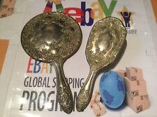 Vintage Silver Plated Early Plastic Vanity Hand Mirror Hair Brush Set