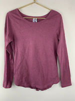 Z By Zella Womens Size Small S Heather Purple Split Back Long Sleeve Top