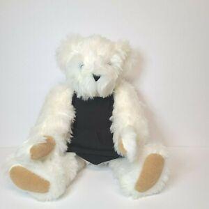 Authentic  Handmade Vermont White Plush Stuffed Jointed Teddy Bear W/Black Dress