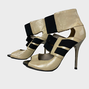 GENUINE Ladies Women Shoes Size UK 6 EU 39 Patent Leather Elasticated Ankle Heel