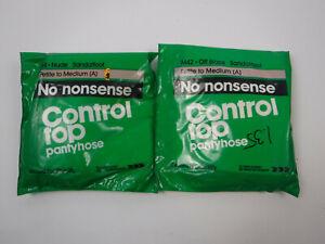 2 No Nonsense Control Top Nylon Sandlefoot Pantyhose Size A - Nude & Off Black