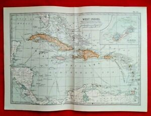 Original 1903 Map, West Indies, Cuba, Bermuda, Jamaica, No.117 by The Century Co