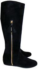 $695 Stuart Weitzman Boot Tass Hidden Wedge Black Suede Gold Zipper Bootie 8- 38