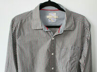 """Fat Face Mens Shirt Stripe Blue Red Cotton Weekend Smart 22"""" Pit To Pit Large"""