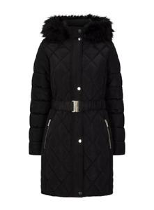 Women's Ex Dorothy Perkins Petites Black Long Luxe Quilted Coat RRP £65