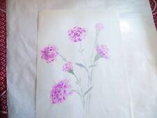 ROSE MARIE DE WOUTERS – aquarelle – œillets roses    LONGUEUR : 30,7 cm LARGEUR