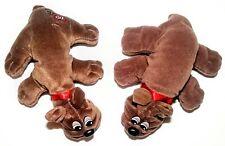 "Vintage Pound Puppies Rumple Skins LOT(2) Chocolate Puppy Dog 7.5"" Tonka 1985"