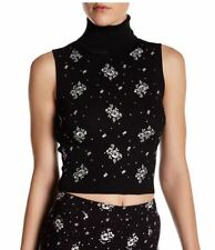 NWT$295 Cinq a Sept Stardust Turtleneck Floral embroidery Knit Tank ZK0015041Z S