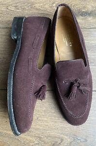Vgc Charles Tyrwhitt Berwick Mod Skin Purple Suede Tassel Penny Loafers 8 42 F