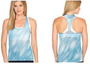 New Nike Breathe Printed Women's Running Tank Top/sport VEST/gym/run/yoga/blue