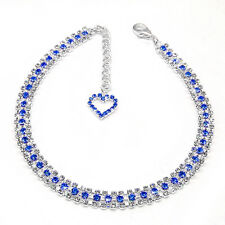 Bling Rhinestone Dog Necklace Collar Crystal & Heart Pendant Pet Puppy Accessory