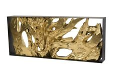 "80"" Long Console Table Root Iron Frame Resin Wood Sculpture in Gold"