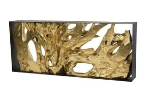 """80"""" Long Console Table Root Iron Frame Resin Wood Sculpture in Gold"""