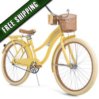 "Huffy, Nel Lusso 26"" Classic Cruiser Bike with Perfect Fit Frame, Women's Yellow"
