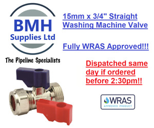 "15mm x 3/4"" WASHING MACHINE/DISHWASHER VALVE HOT & COLD WATER STRAIGHT, WRAS!!"