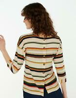 EX MONSOON - 'WITH LINEN' STRIPED LADIES TOP **NEW** BUTTONED BACK - S TO XL
