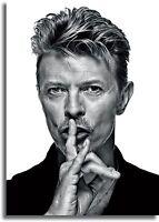 David Bowie Rock Star Black and White Wall Art CANVAS Print A0 A1 A2 A3 A4