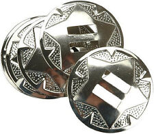 "4 Pack 1-1/2"" Western Saddle Bright Silver Star Round slotted Conchos"