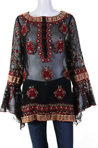 Roja Womens Sheer Embroidered Bell Sleeve Tunic Top Black Red Gold Size Large