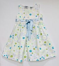 Laura Ashley Turquoise Green Blue Yellow Floral Print Sleeveless White Dress, 3T