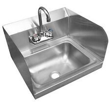 """Stainless Steel Wall-Mount Hand Sink 9"""" x 9"""" Bowl with Faucet Side Splashes NSF"""