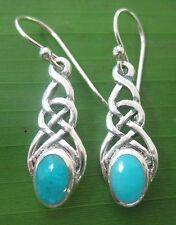NEW -100% REAL 925 sterling silver TURQUOISE Hook Earrings - Women - Girl