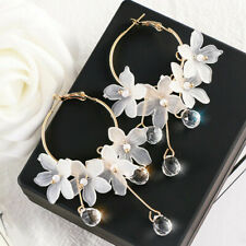 Luxury Women Crystal Tassel Dangle Acrylic Flower Drop Earrings Jewelry Gift