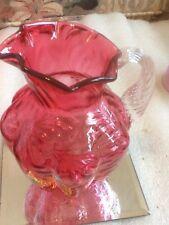 "Fenton 1990-91 Cranberry 5.5"" Fern Pitcher, No. 1866 CC"