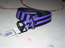 Belt Purple Black Stripes Punk Goth Emo Rockabilly Faux Leather Small NWD