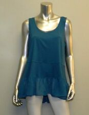 LANE BRYANT NEW Dark Teal Green Ruffled Chiffon Hem Sleeveless Shirt sz 14/16W